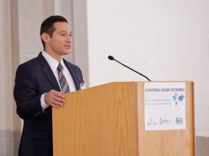 Leland Kruvant, President of Creative Associates International, emphasized the value of local partners, speaking at the CVE Symposium on April 6.