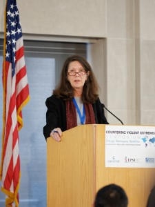 Pamela Aall, Chair of the Board of Directors for the International Peace and Security Institute, addressed the CVE Symposium on April 6, underscoring the need for effective prevention and mitigation measures.