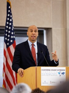 "Sen. Cory Booker delivered the keynote speech at the CVE Symposium on April 7 and spoke about the need to amplify the ""right voices"" in messaging to counter violent extremism."